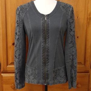 Gerry Weber Lace overlay Zip Front Blazer